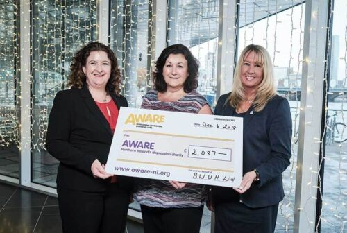 Waterfront Hall Charity Cheque Presentation Aware NI